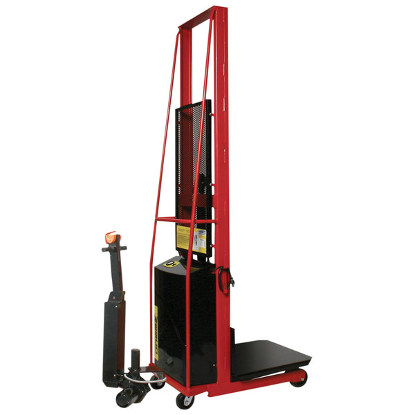 """Wesco Industrial Products 261024-PD 1000 lb. Power Lift Platform Stacker with 24"""" x 24"""" Platform, 80"""" Lift Height, and Power Drive Main Image 1"""