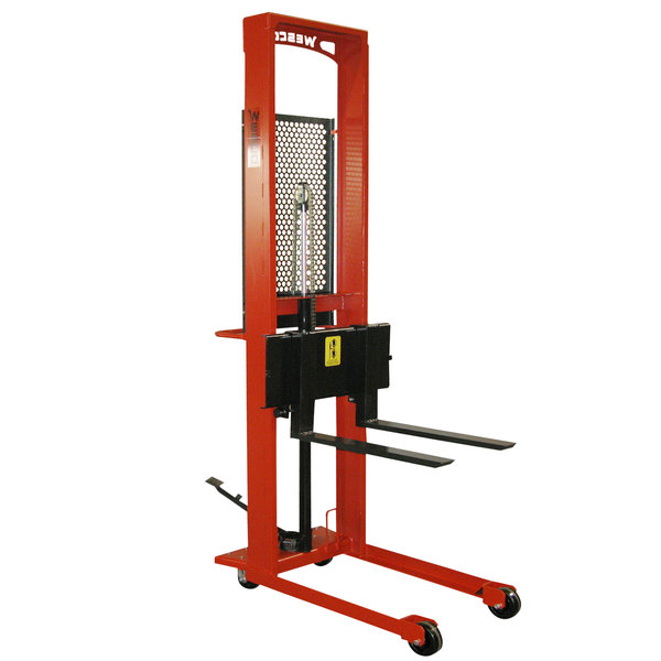 """Wesco Industrial Products 260042 Standard Series 1000 lb. Straddle Fork Stacker with 30"""" Forks and 64"""" Lift Height Main Image 1"""