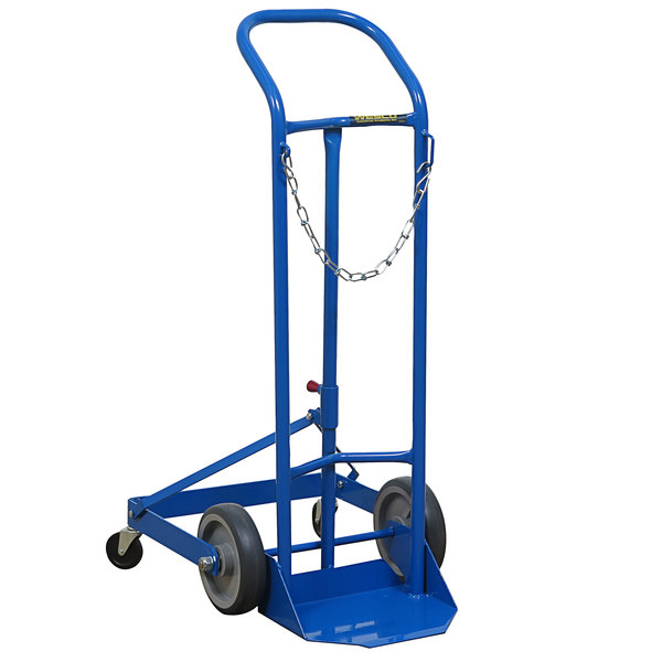 """Wesco Industrial Products 210123 250 lb. Single Cylinder Truck with (2) 8"""" Rubber Wheels and (2) 3"""" Casters Main Image 1"""