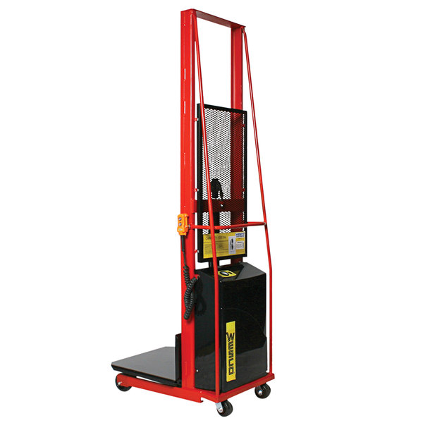"""Wesco Industrial Products 261023 1000 lb. Power Lift Platform Stacker with 24"""" x 24"""" Platform and 68"""" Lift Height Main Image 1"""