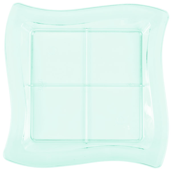 """Fineline Tiny Temptations 6206-GRN 7 1/4"""" x 7 1/4"""" Tiny Tangents Disposable Green Plastic Tray - 120/Case"""