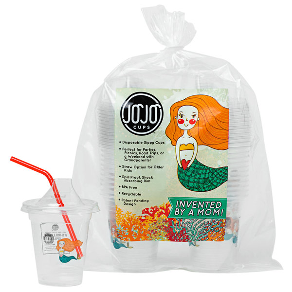 JoJo Cups JJC1901 12 oz. Mermaid Design Plastic Kids Cup with Sippy Spout and Straw - 250/Case Main Image 1