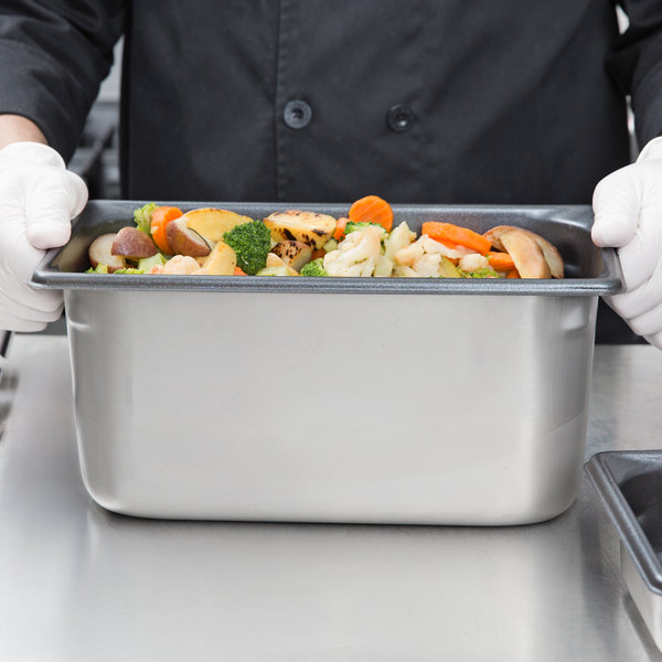 """Vollrath 70362 Super Pan V® 1/3 Size 6"""" Deep Anti-Jam Stainless Steel SteelCoat x3 Non-Stick Steam Table / Hotel Pan - 22 Gauge Main Image 3"""