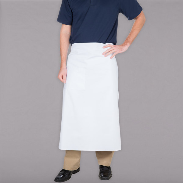 "Choice White Bistro Apron with Pocket - 34""L x 30""W"