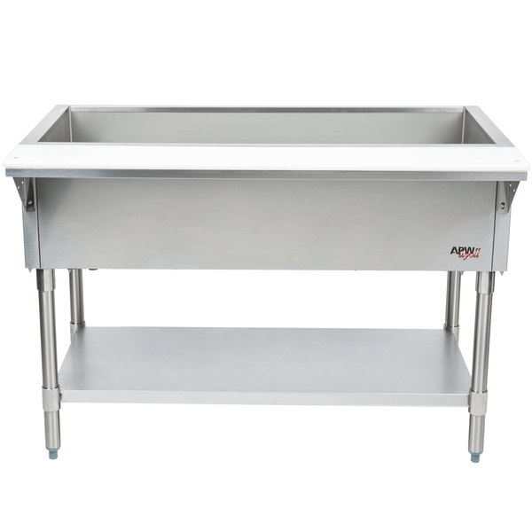 APW Wyott CT-3 Three Pan Stationary Cold Food Table with Coated Legs and Undershelf