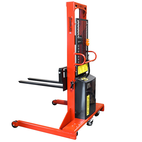 """Wesco Industrial Products 261046 2000 lb. Hydraulic Power Lift Fork Stacker with 30"""" Forks and 86"""" Lift Height Main Image 1"""