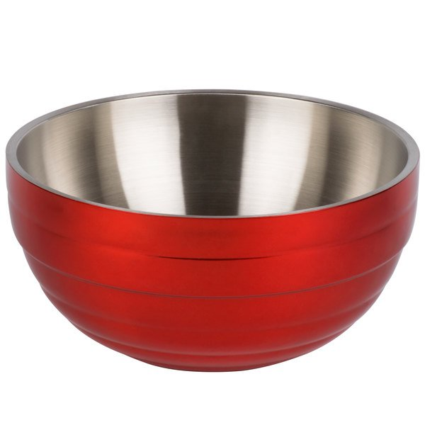 Vollrath 4659155 Double Wall Round Beehive 3.4 Qt. Serving Bowl - Fire Engine Red