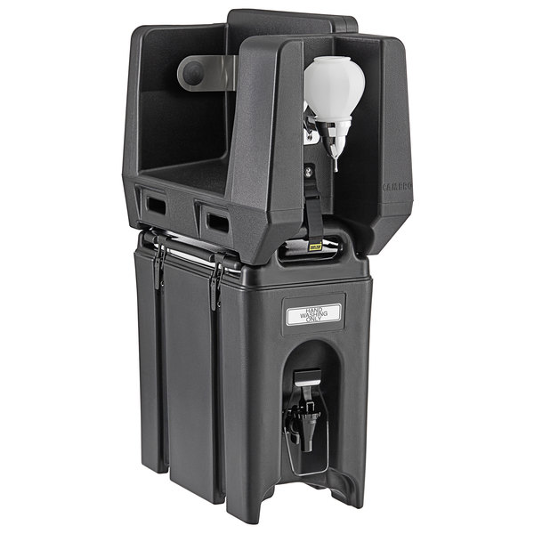 Cambro 2.5 Gallon Black Portable Handwash Station with Soap and Roll Paper Towel Dispenser Main Image 1