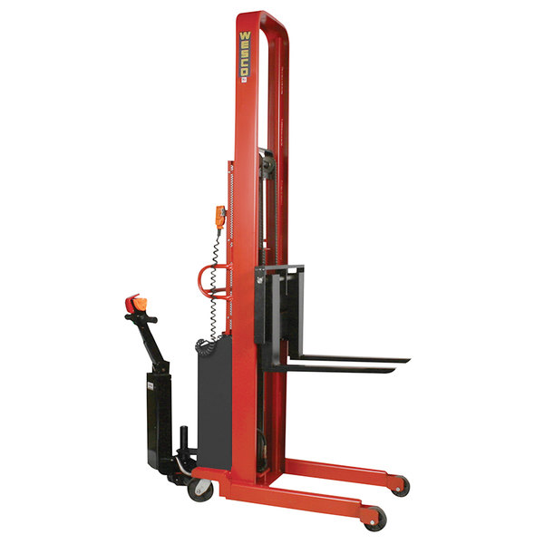 "Wesco Industrial Products 261046-PD 2000 lb. Hydraulic Power Lift Fork Stacker with 30"" Forks, 86"" Lift Height, and Power Drive Main Image 1"