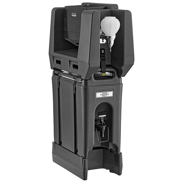 Cambro 2.5 Gallon Black Portable Handwash Station with Soap and Multi Fold Paper Towel Dispenser and Riser Main Image 1