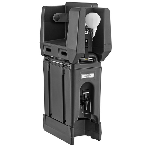 Cambro 2.5 Gallon Black Portable Handwash Station with Soap and Roll Paper Towel Dispenser and Riser Main Image 1