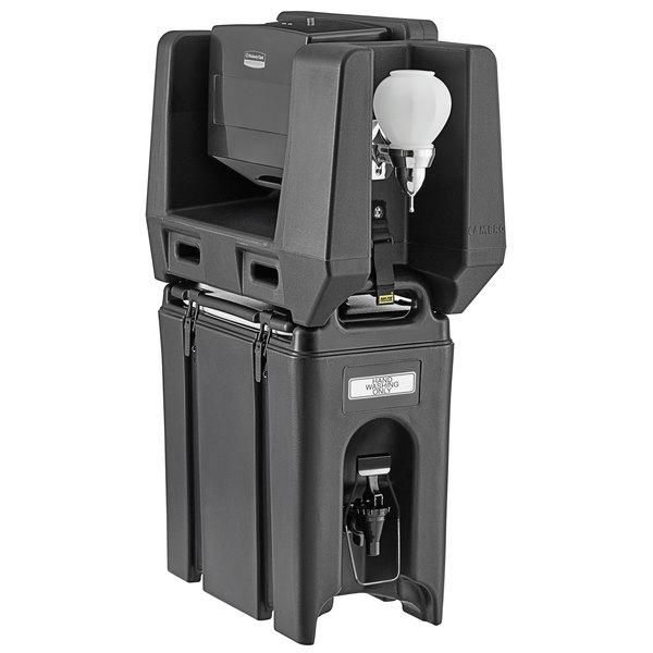 Cambro 2.5 Gallon Black Portable Handwash Station with Soap and Multi Fold Paper Towel Dispenser Main Image 1