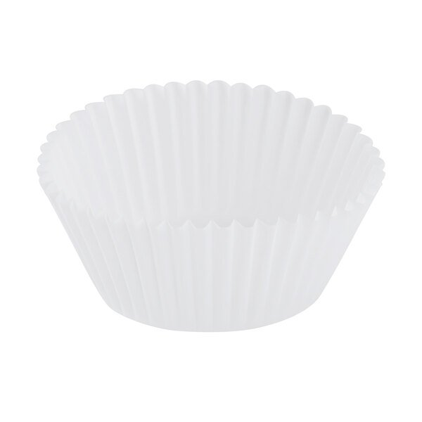 Hoffmaster 610032 2 inch x 1 1/4 inch White Fluted Baking Cup - 10000/Case