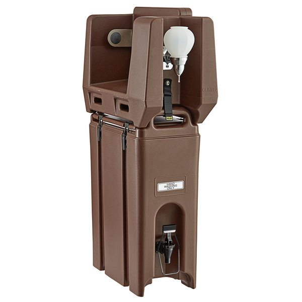 Cambro 4.75 Gallon Dark Brown Portable Handwash Station with Soap and Roll Paper Towel Dispenser Main Image 1