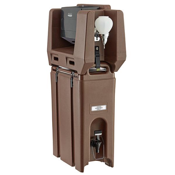 Cambro 4.75 Gallon Dark Brown Portable Handwash Station with Soap and Multi Fold Paper Towel Dispenser Main Image 1