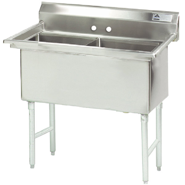 """Advance Tabco FS-2-1824 Spec Line Fabricated Two Compartment Pot Sink - 41"""""""