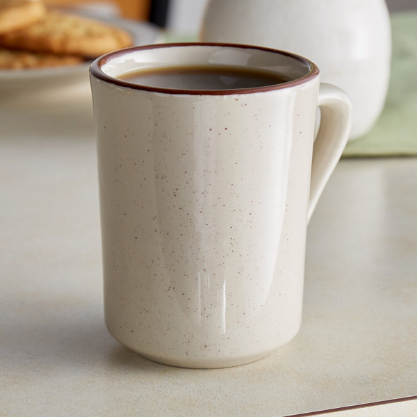 Choice 8.5 oz. Brown Speckle Narrow Rim Stoneware Coffee Cup / Mug - 36/Case Main Image 2