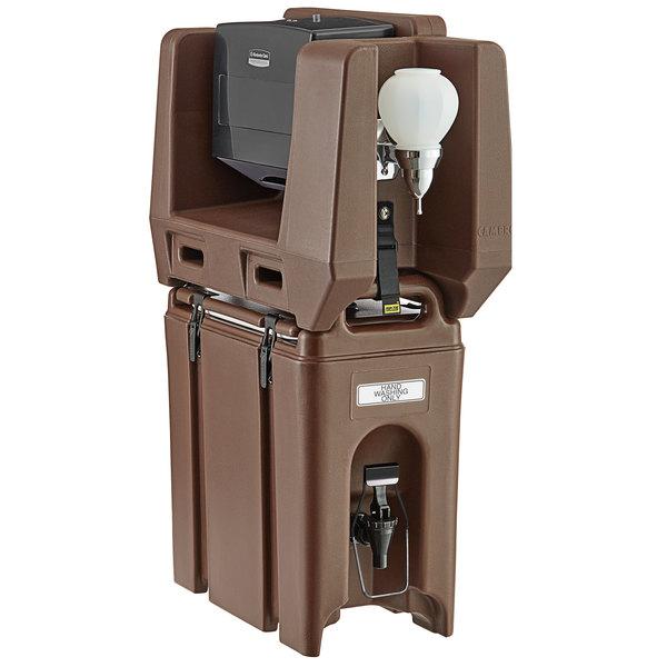 Cambro 2.5 Gallon Dark Brown Portable Handwash Station with Soap and Multi Fold Paper Towel Dispenser Main Image 1