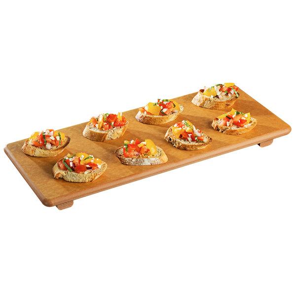 """Tomlinson 1024095 17"""" x 7"""" Natural Richlite Wood Fiber Skateboard Serving Board Main Image 1"""