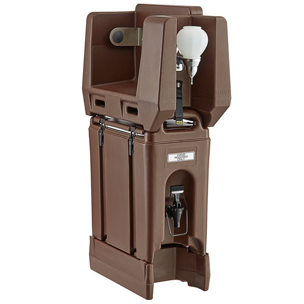 Cambro 2.5 Gallon Dark Brown Portable Handwash Station with Soap and Roll Paper Towel Dispenser and Riser Main Image 1