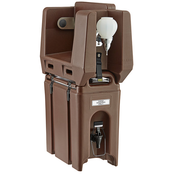 Cambro 2.5 Gallon Dark Brown Portable Handwash Station with Soap and Roll Paper Towel Dispenser Main Image 1