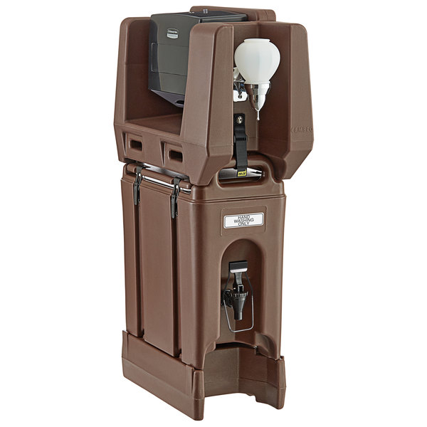 Cambro 2.5 Gallon Dark Brown Portable Handwash Station with Soap and Multi Fold Paper Towel Dispenser and Riser Main Image 1