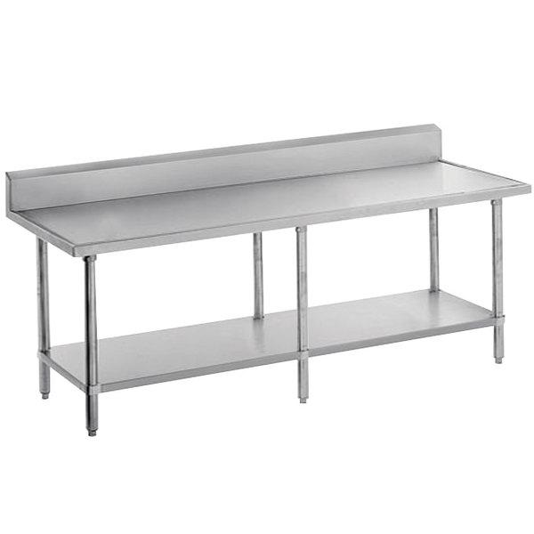 "Advance Tabco VKS-249 Spec Line 24"" x 108"" 14 Gauge Work Table with Stainless Steel Undershelf and 10"" Backsplash"