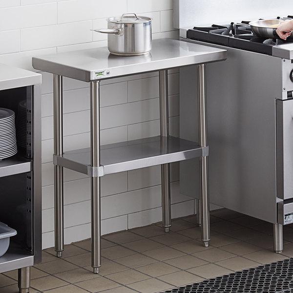 "Regency 18"" x 30"" 16-Gauge 304 Stainless Steel Commercial Work Table with Undershelf Main Image 3"