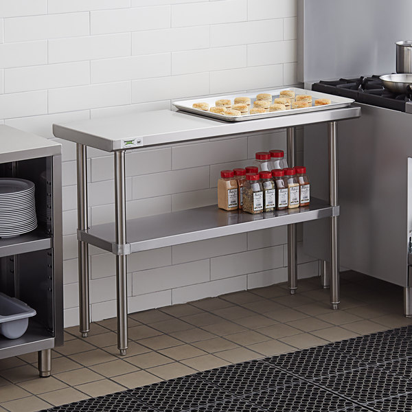 "Regency 18"" x 48"" 16-Gauge 304 Stainless Steel Commercial Work Table with Undershelf Main Image 3"