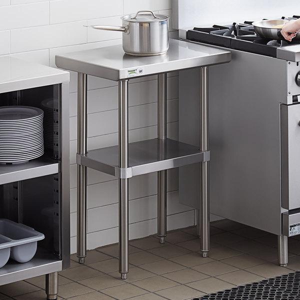 "Regency 18"" x 24"" 16-Gauge 304 Stainless Steel Commercial Work Table with Undershelf Main Image 3"
