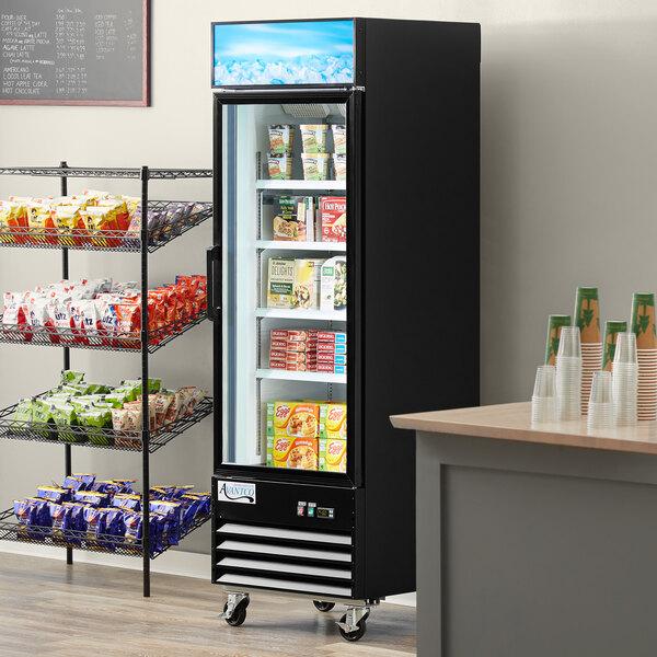 """Avantco GDC-12F-HC 27 1/8"""" Black Swing Glass Door Merchandiser Freezer with LED Lighting Main Image 7"""