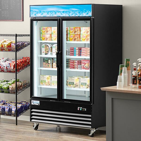 """Avantco GDC-49F-HC 53 1/8"""" Black Swing Glass Door Merchandiser Freezer with LED Lighting Main Image 7"""