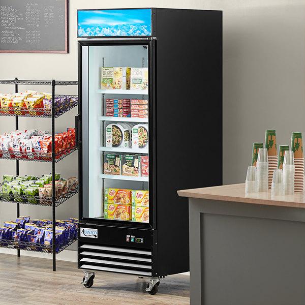 """Avantco GDC-24F-HC 31 1/8"""" Black Swing Glass Door Merchandiser Freezer with LED Lighting Main Image 4"""