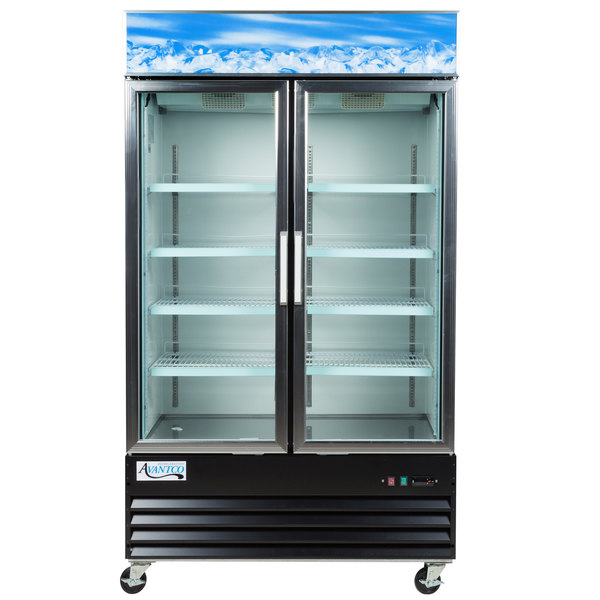 Avantco GDC40 48 inch Swing Glass Door Black Merchandiser Refrigerator with LED Lighting