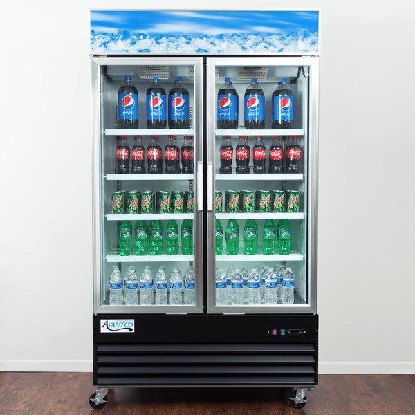 """Avantco GDC40 48"""" Swing Glass Door Black Merchandiser Refrigerator with LED Lighting"""