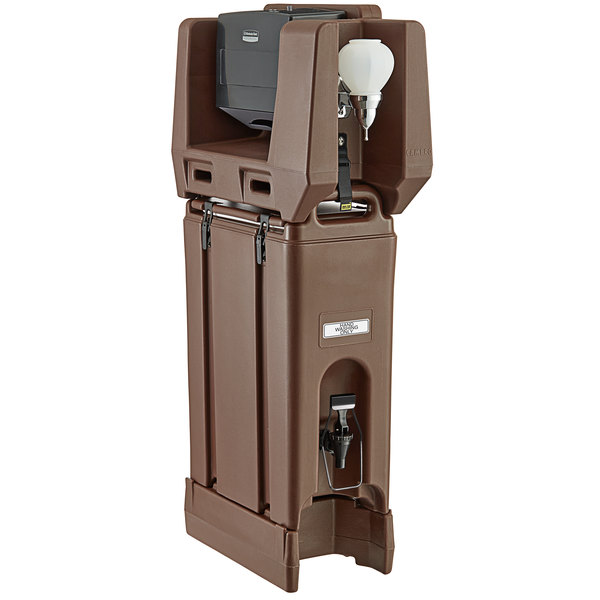 Cambro 4.75 Gallon Dark Brown Portable Handwash Station with Soap and Multi Fold Paper Towel Dispenser and Riser Main Image 1