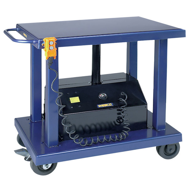 "Wesco Industrial Products 261100 24"" x 36"" Battery-Powered Lift Table with 47 1/2"" Lift Height and Swivel Casters - 2000 lb. Capacity Main Image 1"
