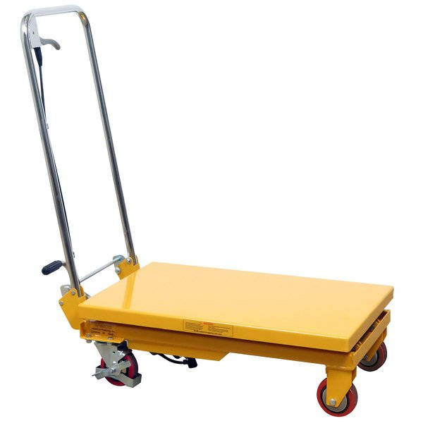 """Wesco Industrial Products 260201 17 3/4"""" x 27 1/2"""" Folding Handle Scissor Lift Table with 28 1/2"""" Lift Height - 330 lb. Capacity Main Image 1"""
