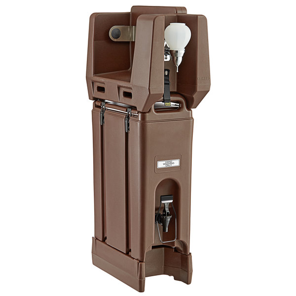 Cambro 4.75 Gallon Dark Brown Portable Handwash Station with Soap and Roll Paper Towel Dispenser and Riser Main Image 1