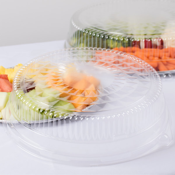 """Durable Packaging 12DL 12"""" Clear Plastic Round High Dome Lid - 5/Pack"""