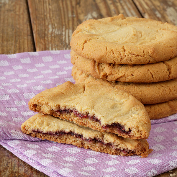 Rich's 3 oz. Gourmet Preformed PB&J Peanut Butter Cookie Dough with Raspberry Filling - 96/Case Main Image 2