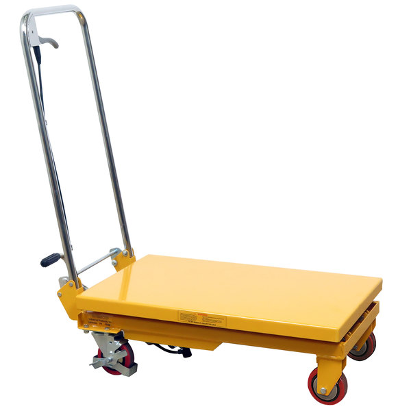 "Wesco Industrial Products 260208 20"" x 32"" Folding Handle Scissor Lift Table with 35"" Lift Height - 1100 lb. Capacity Main Image 1"