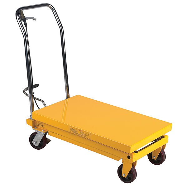 """Wesco Industrial Products 260199 19 1/2"""" x 32"""" Fixed Handle Scissor Lift Table with 35"""" Lift Height - 700 lb. Capacity Main Image 1"""
