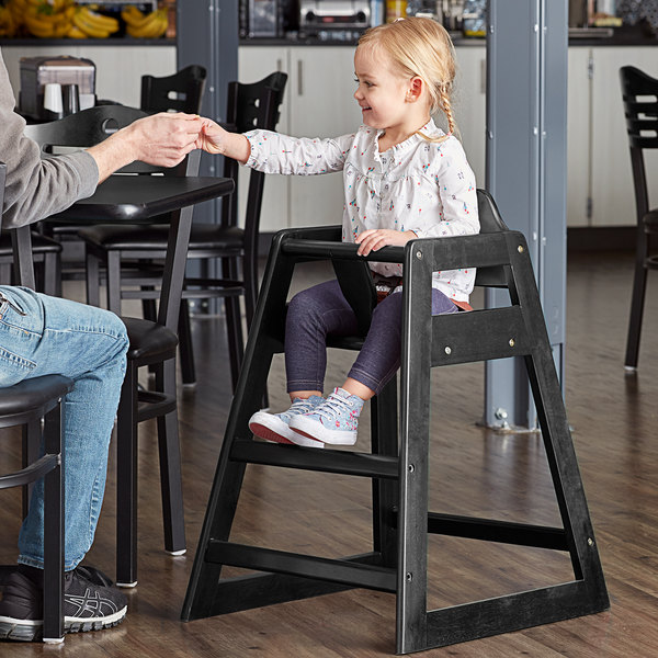 Lancaster Table & Seating Assembled Restaurant Wood High Chair with Black Finish Main Image 4