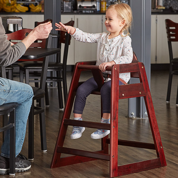 Lancaster Table & Seating Assembled Restaurant Wood High Chair with Mahogany Finish Main Image 4