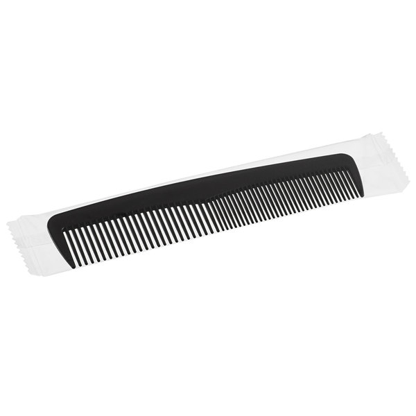 Novo Essentials 4 5/8 inch Black Comb - Individually Wrapped - 144/Pack