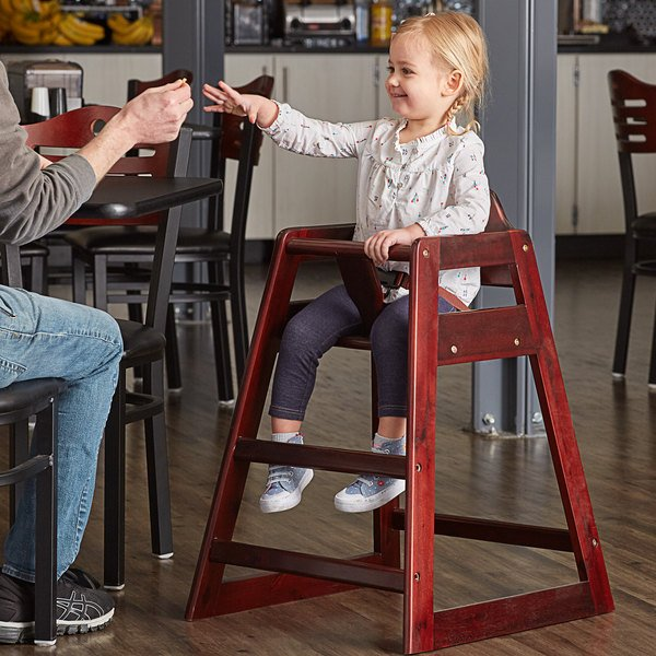 Lancaster Table & Seating Ready-to-Assemble Restaurant Wood High Chair with Mahogany Finish Main Image 4