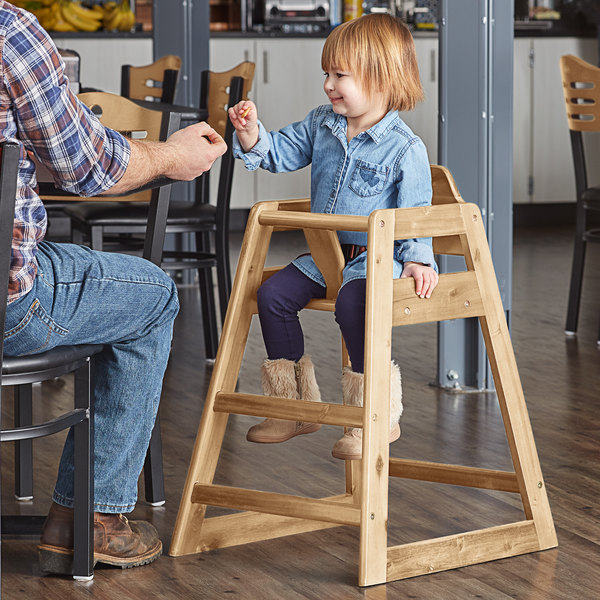 Lancaster Table & Seating Assembled Restaurant Wood High Chair with Natural Finish Main Image 4