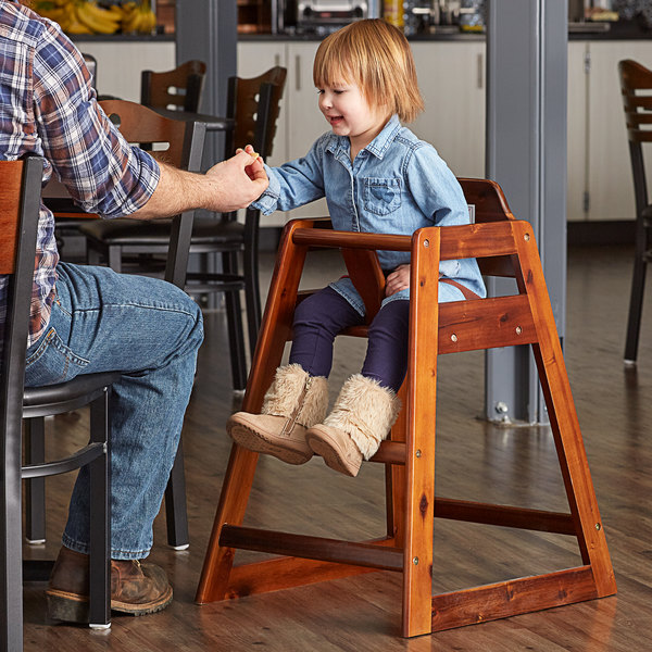 Lancaster Table & Seating Assembled Restaurant Brown Wooden High Chair with Walnut Finish Main Image 4