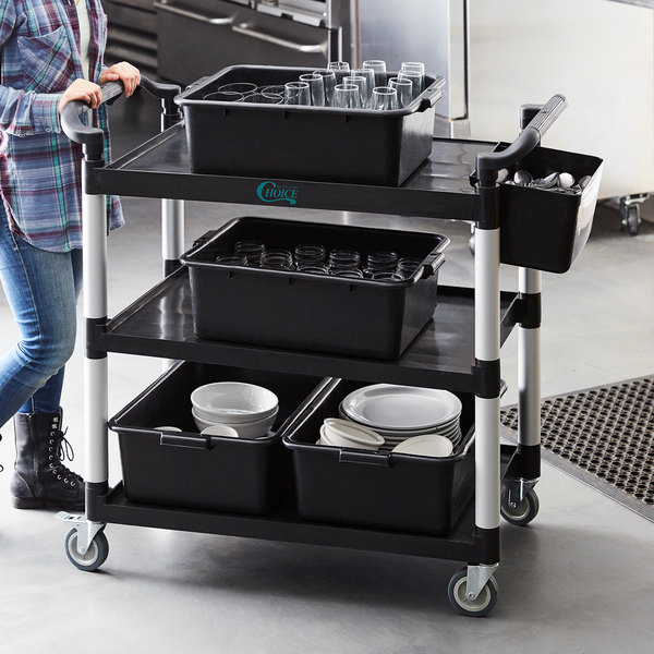 "Choice Black Utility / Bussing Cart with Three Shelves - 42"" x 20"" Main Image 4"